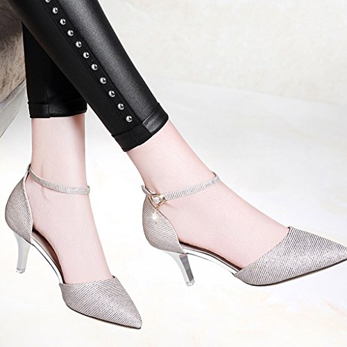 ZHIFENGLIU Spring Ladies Sandals/Pointed/Wine Glasses With/Low Help/Word Buckle Single Shoes/Waterproof Platform Women's Shoes Silver BJd1EVfc