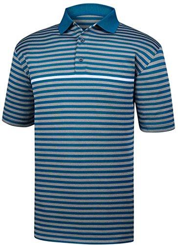 (FootJoy Men's Stretch Pique Stripe Golf Polo (Indigo/Heather Grey/White, XXL))
