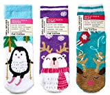 Bath and Body Works 3 Pack Winter Animals Shea-Infused Lounge Socks. Penguin, Polar Bear and Reindeer.