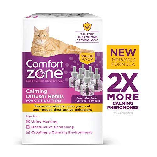 Comfort Zone Calming Diffuser Refill only, New 2X Pheromones for Cats Formula, 6 Pack