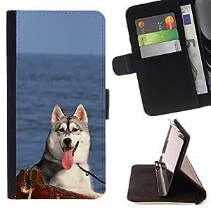 Devil Case- Estilo PU billetera de cuero del soporte del tir¨®n [solapa de cierre] Cubierta FOR Samsung Galaxy Note 4 SM-N910 N910 IV- Huskies Husky Dog Paws Cute