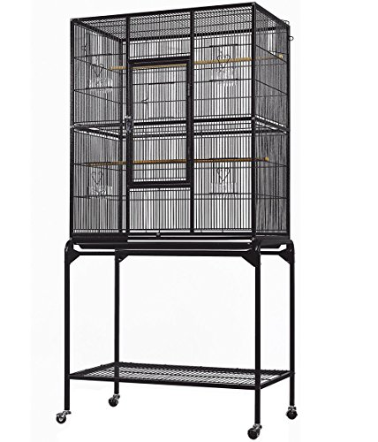 Everila YFT32 New Bird Parrot Cage 30''x18''x63'' 1/2'' Bar Spacing Cockatiel Conure Finch Parakeet Senegal Lovebird Sugar Glider Chinchilla Ferret by Everila