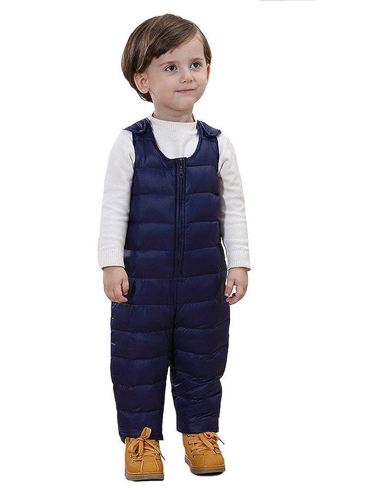 SANSEIJH Unisex Kinder Winter Softshell Warm Schneeanzug Schneehose Overall Blau Gr. 80cm(Höhe: 70-80cm)