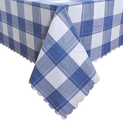 Hiasan Homedocr Checkered PVC Rectangle Tablecloth 100% Waterproof Spillproof Stain Resistant Wipeable Vinyl Table Cloth for Outdoor Picnic Kitchen Dining, 54 x 80 Inch, Blue (Vinyl Tablecloth Blue Rectangle)