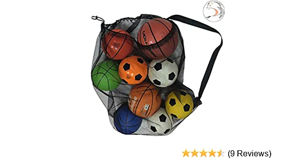Swimming Gears Mesh Ball Bag for Soccer Ball Adjustable Shoulder Strap for Adults and Kids 28 x 41 Inches Water Sports Beach Cloth YJNBD Heavy Duty Mesh Equipment Bag,Extra Large Sports Ball Bag
