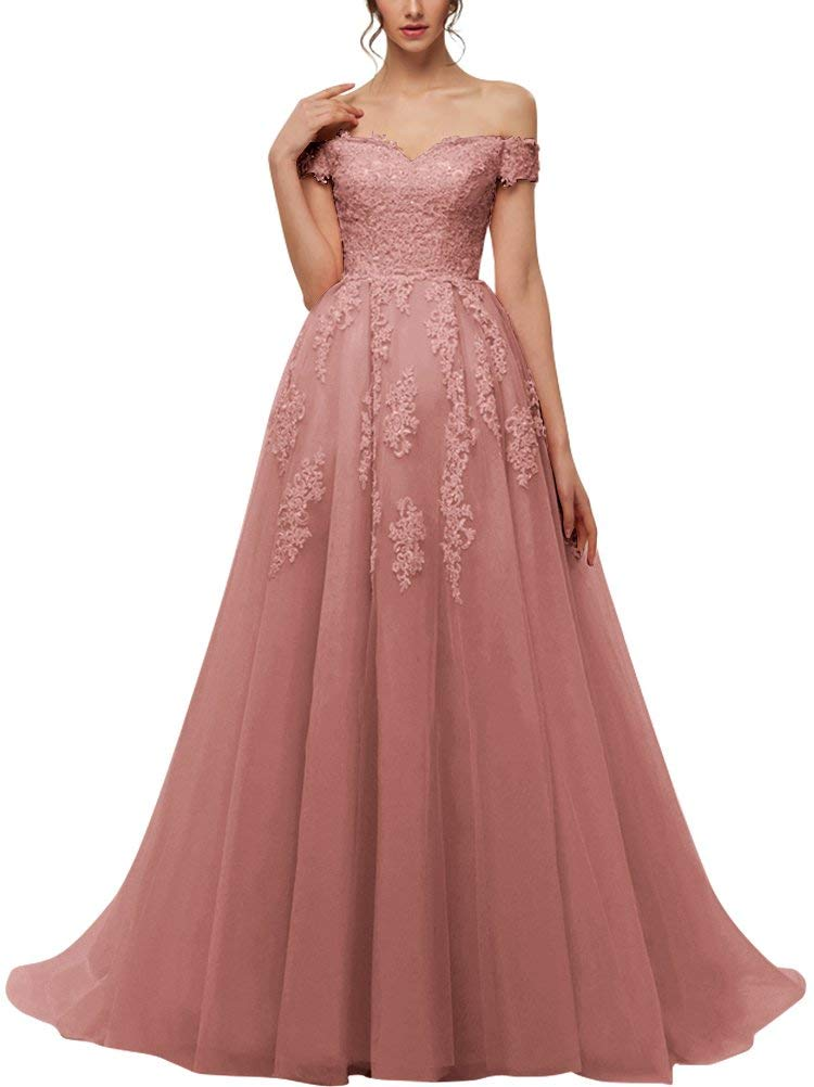 YARIVI Women's Prom Dresses Long A line Tulle Lace Formal Evening Party Gown Off The Shoulder 2019