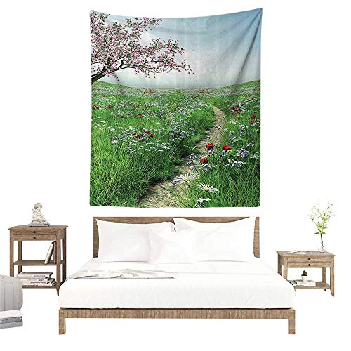 Beach Tapestry,Poppy Decor Collection,Pathway with Cherry Blossom Tree Wildflowers Grassland Country Village Image,Green Blue Pink W47 x L47 inch Tapestry Wall Hangings