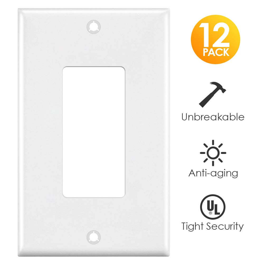 Outlet Covers, 1 Gang Decorator Wall Plates Light Switch Cover White Electrical GFCIs Receptacle Wallplate, Standard Size, Unbreakable Polycarbonate, 12 Pack by CRANACH (Image #1)