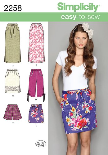 Simplicity Easy-to-Sew Pattern 2258 Misses Pull-on Skirt, Capri Pants and Shorts Sizes 6-8-10-12-14