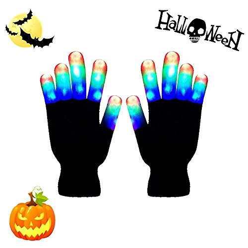 LED Gloves-Flashing Light Finger Gloves,Skeleton Hand 6 Modes Gloving & Lightshow Dancing Gloves for Clubbing, Rave,Halloween, Birthday, EDM, Disco, and Dubstep Party. (Whole Fingers) (Gloving Lights)
