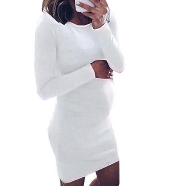 1eec5d832eebf Pregnant Dress Women O-Neck Long Sleeve Dress Maternity Nursing Dress  Jumper Dress Casual Mini Dress (S, Sexy White): Amazon.co.uk: Clothing