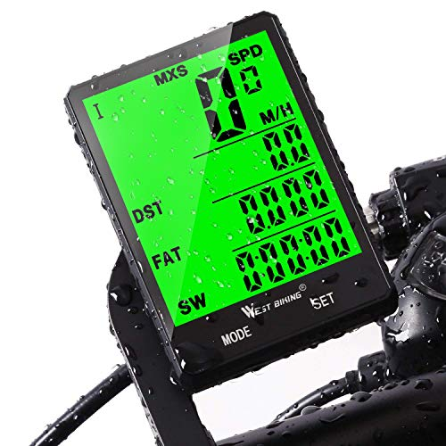 Cycle Computer, Bike Odometer Speedometer for Mountain Road Riding Bicycle Computers Waterproof Automatic Wake Up-Tracking Distance AVS Speed Time,Cycling Accessories(Wireless/Wired) (Best Bike Computer For Mountain Biking)