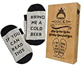 you can get with this shirt - Funny Novelty Socks-If You Can Read This Bring Me a Cold Beer-Black and Gray