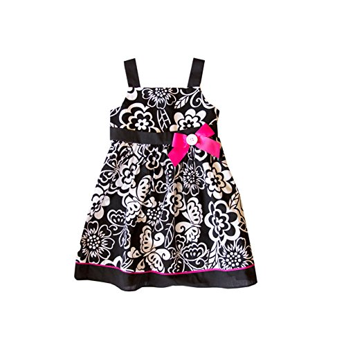 Good Lad New Born Infant Cotton Black/White Floral Print Sundress with Bow (6/9m)