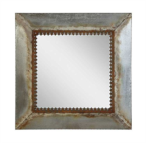 "Creative Co-op DA1759 Square Metal Framed Mirror - Perfect for the shabby chic home Mirror portion is 20"" square Detailed decorative accent on inside of frame - bathroom-mirrors, bathroom-accessories, bathroom - 51%2BxLD 7yIL -"