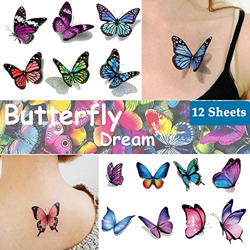 Colorful Butterfly Tattoos (Ooopsi Butterfly Tattoos for Kids Womens - 110 Pcs 3D Tattoos, Colorful Body Art Temporary Tattoos, Butterfly Party)