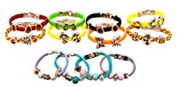 12 Wholesale Assorted Mens Womens Braided Faux Leather Butterfly Heart Charm Bracelets