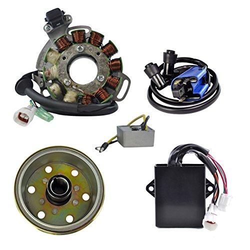 High Output Stator (Kit High Output Stator 200 W + AC Regulator + HP CDI Box + Ignition Coil + Flywheel For Yamaha YFZ 350 Banshee 1995-1996)