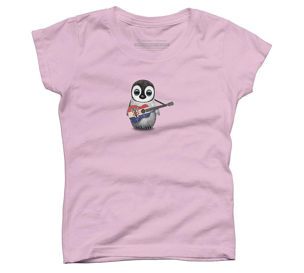 Baby Penguin Playing Croatian Flag Guitar Girls Youth Graphic T Shirt