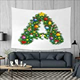 Letter A Art Wall Decor Tree Star from Winter Celebrations Praying Angel Mini Stars Letter A Font Concept Tapestry Wall Tapestry W60 x L51 (inch) Multicolor