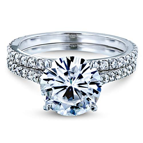 (3-2/5 Carats ct.tw Basket Cathedral Round Brilliant-cut Moissanite and Diamond Bridal Rings Set 14k White Gold, (HI/VS, GH/I) 5 )