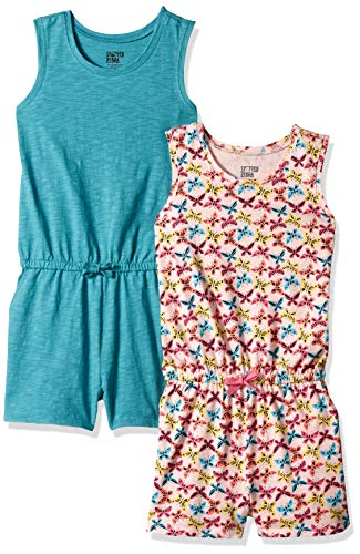 Spotted Zebra Little Girls' 2-Pack Knit Sleeveless Tank Rompers, Butterflies/Teal X-Small (4-5)