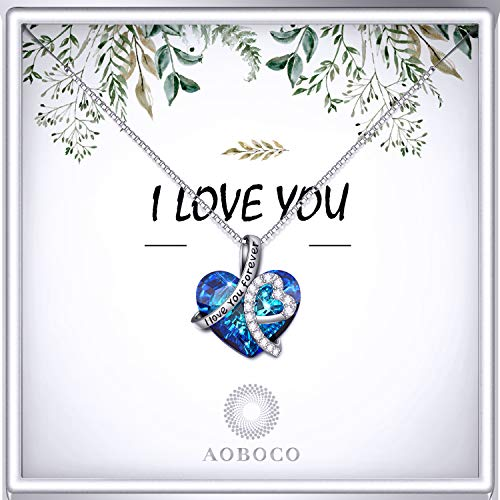 AOBOCO Sterling Silver I Love You Forever Heart Pendant Necklace with Blue Swarovski Crystals (Gift Box- Leaf)