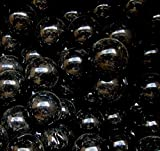 """Unique & Custom {1'' Inch} Set of Approx 50 Big """"Round"""" Opaque Marbles Made of Glass for Filling Vases, Games & Decor w/ Dark Shiny Modern Jet Obsidian Tone Orb Design [Black Color]"""