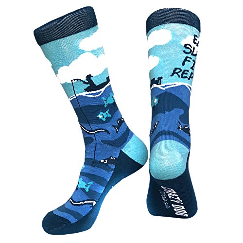Eat Sleep Fish Socks Funny Father's Day Fishing Footwear For Guys (Blue) - Mens (7-12)