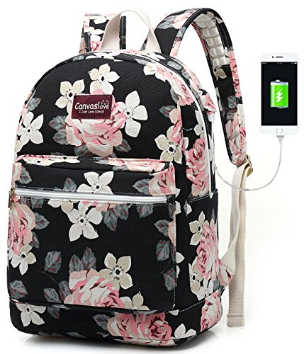 Canvaslove Canvas15.6 inch Waterproof Laptop Backpack with USB Charging Port and Massage Cushion Straps for Laptop up to 15 inch Men Women Student Outdoor Travel Backpack (White Rose)