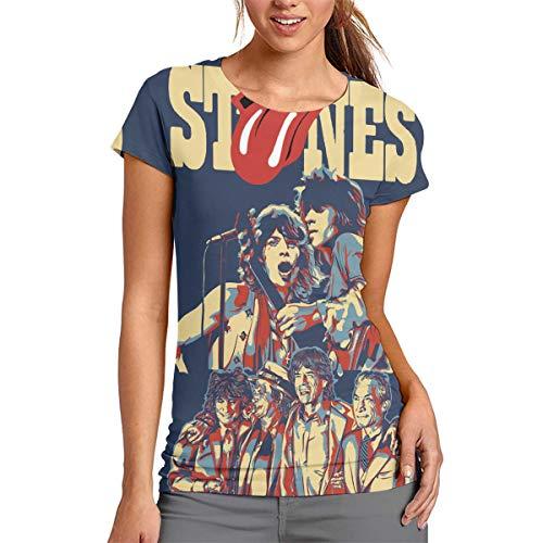 MMWNX Women's Rolling Paint It Black-Stones 3D T-Shirt, Short Sleeve Tee L