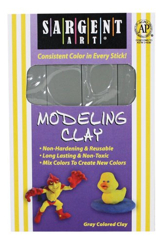 Modeling Clay Sticks - Sargent Art 22-4084 1-Pound Solid Color Modeling Clay, Gray