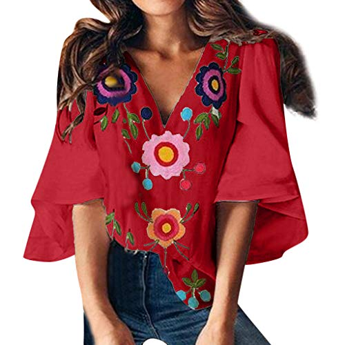 (Emimarol Women's T-Shirt Summer V-Neck Print Tops Trumpet Sleeve T-Shirt Red)