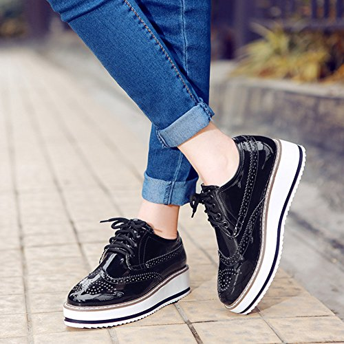 737bcc1f5 30%OFF Summerwhisper Women's Trendy Round Toe Low Top Brogues Pumps Lace-up  Platform