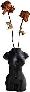 AMITD Female Body Form vase for Flower, Sex Body Art Vase, Vases for Decor, Modern Boho Chic Home Decor (Black Body A)