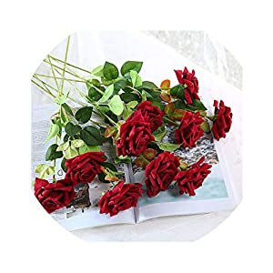Lucky-fairy 48Cm Length 11 Pieces Red Purple Artificial Rose Flower Wedding Decoration Chencheng, Color17,Russian Federation 82