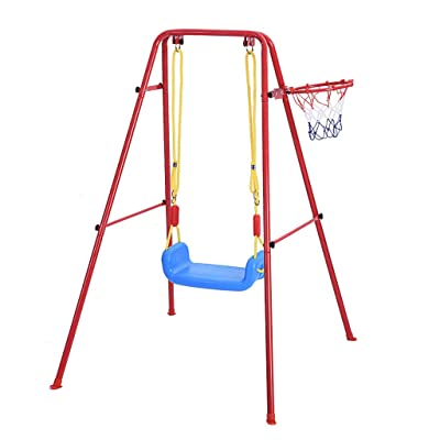 Heberry Children's Toys Swing Basketball Combination Swing Set Multipurpose Portable Swings Basketball Training Indoor and Outdoor Play,for Large Rooms Or Courtyards: Toys & Games