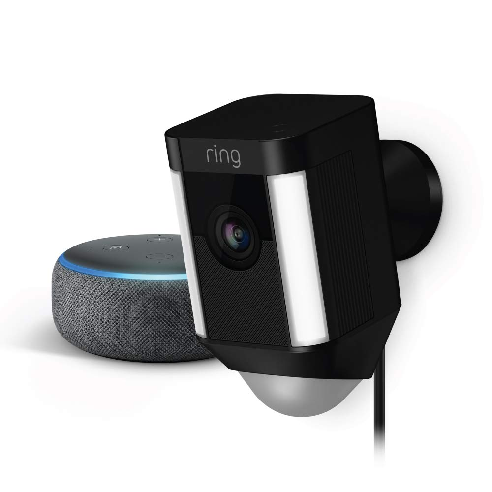 Ring Spotlight Cam Wired (Black) with Echo Dot (Charcoal)