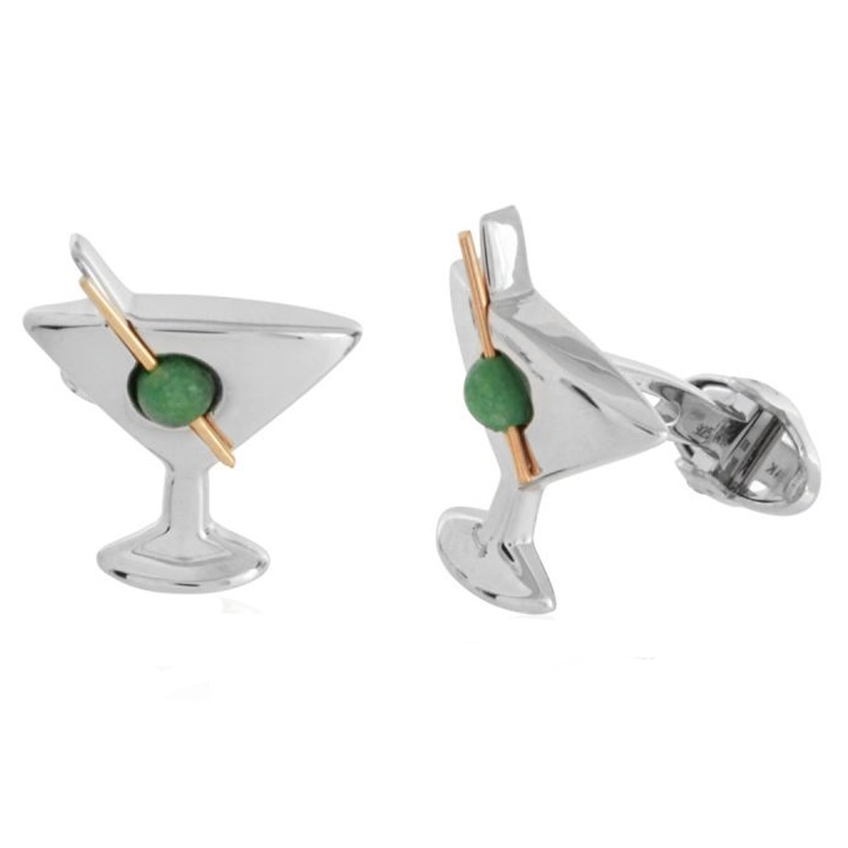 Sterling Silver with Jade Martini Glass Cufflinks