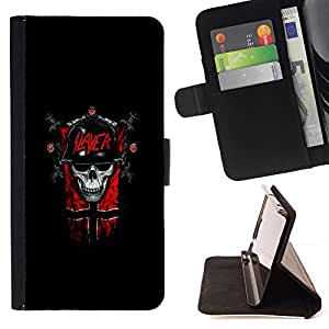 For HTC DESIRE 816 Slayer Dark Goth Skull Beautiful Print Wallet Leather Case Cover With Credit Card Slots And Stand Function