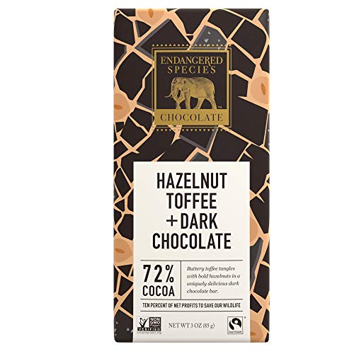 Endangered Species Black Rhino, Natural Dark Chocolate (72%) with Hazelnut Toffee, 3-Ounce Bars (Pack of 12)