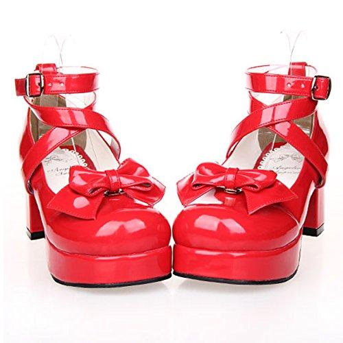 Hauts Chaussures Princesse de Femme Talon Rouge Nœud Pour CHNHIRA Papillon Lolita Chaussure de A0qXwTzx
