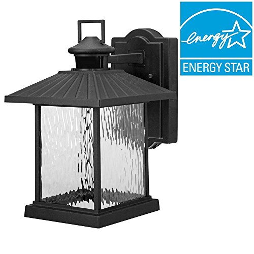 Hampton Bay Lumsden Wall-mount Outdoor Black LED Motion Sensor Lantern (Lantern Detector With Motion)