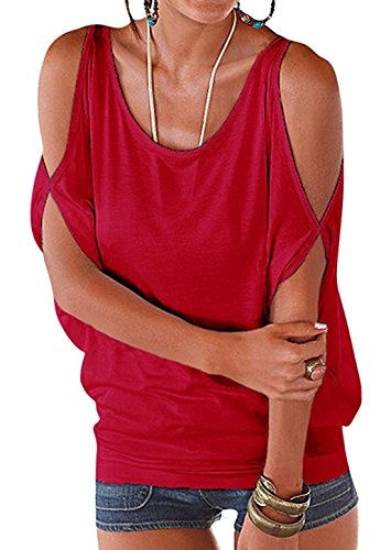Maniche Pullover Bluse Senza Maglietta Spalline Maglia Vdual Elegante Red Casuale Tops Corto Donna Pipistrello Allentato 8XwExq7Z