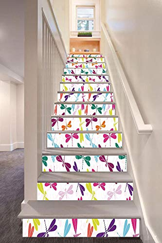 (anselc05ls Dragonfly 3D Stair Riser Stickers Removable Wall Murals Stickers,Kids Nursery Childhood Playroom Birthday Bunch of Winged Animals Floral Pattern,for Home Decor 39.3