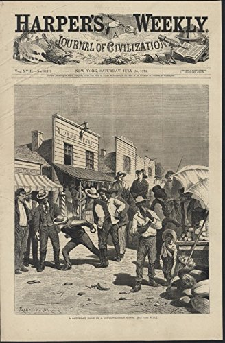 South West Town Drug Store Frontier Scene 1874 antique wood engraved - Southwest Store