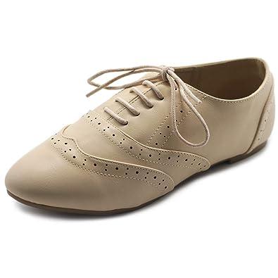 58a2ad7a1 Ollio Women's Shoe Classic Lace Up Dress Low Flat Heel Oxford M1914(6 B(
