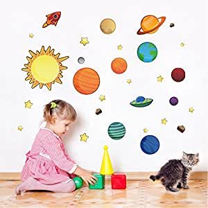 MLM Solar System Planets with Stars in the Space Colorful Cartoon Vinyl DIY Wall Sticker Home Decals Decor For Nursery Baby Room Children's kids Bedroom Removable
