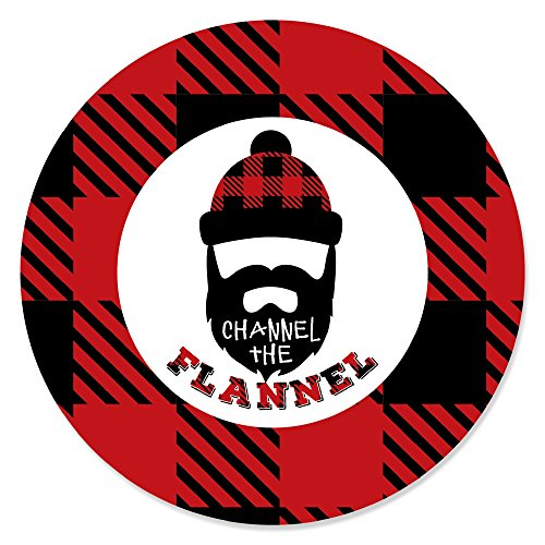 Lumberjack - Channel The Flannel - Buffalo Plaid Party Circle Sticker Labels - 24 Count (Flannel Label)