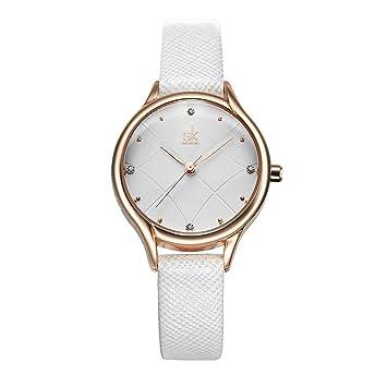 Relojes De Mujer De Moda Mejor Marca Reloj De Lujo Ultra Fino Reloj De Pulsera De Cuarzo para Mujer Reloj Mujer SK,White: Amazon.es: Deportes y aire libre